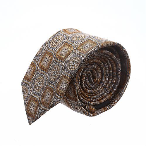 עניבה פרחים מעויינים חום זהב