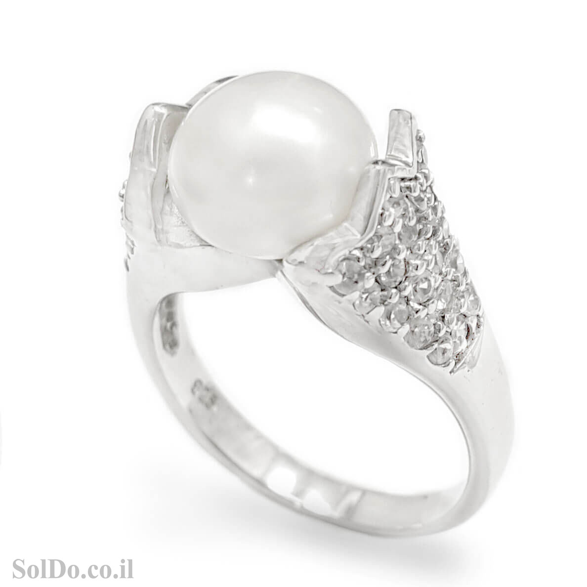 טבעת מכסף משובצת פנינה לבנה וזרקונים RG6062 | תכשיטי כסף 925 | טבעות עם פנינה