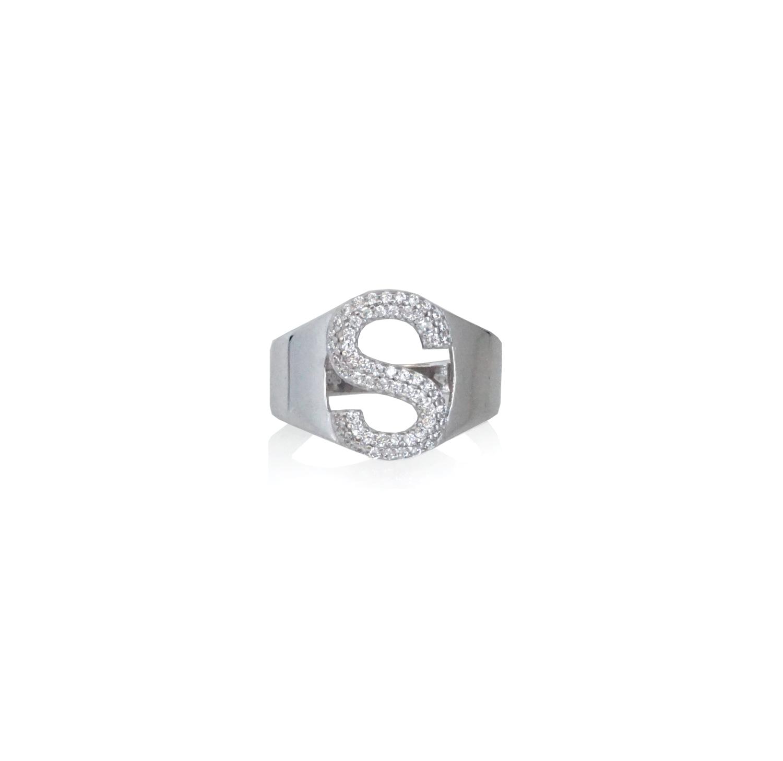 טבעת זהב אות S עם זרקונים