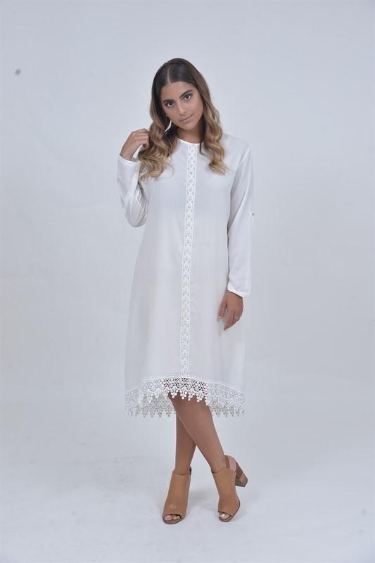 שמלת שיק פנינים לבנה