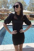 שמלת סטורמי שחורה שרוול נפוח