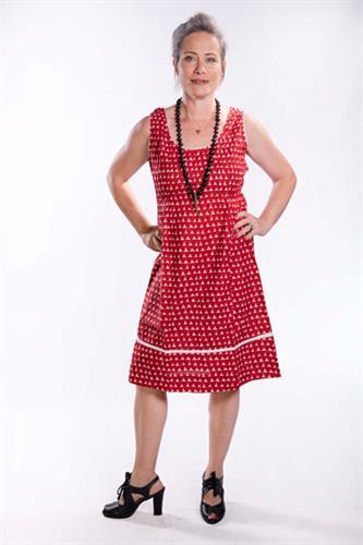 שמלת כתפיות עם חתך וקפלים אדום/לבן