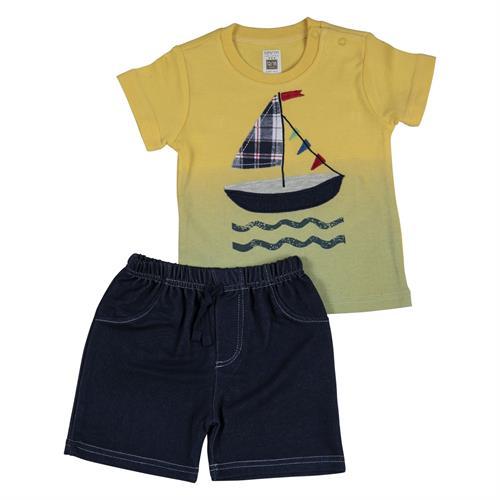 חליפה קצרה הדפס סירת מפרש צהוב
