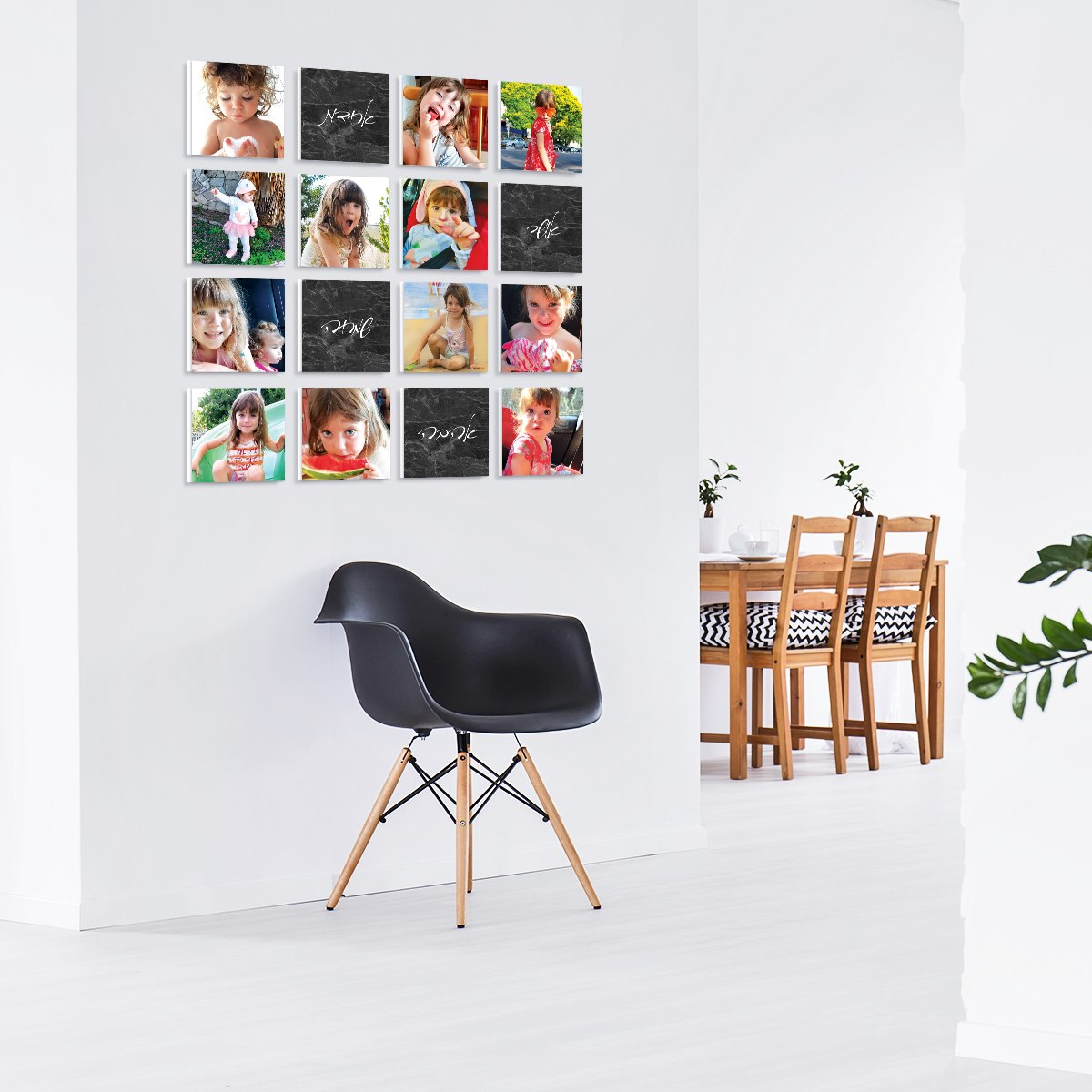 קולאז' תמונות | קולאז' תמונות קאפה לבחירה | עיצוב תמונות לקיר משפחה | הדפסת תמונות | שיש אפור