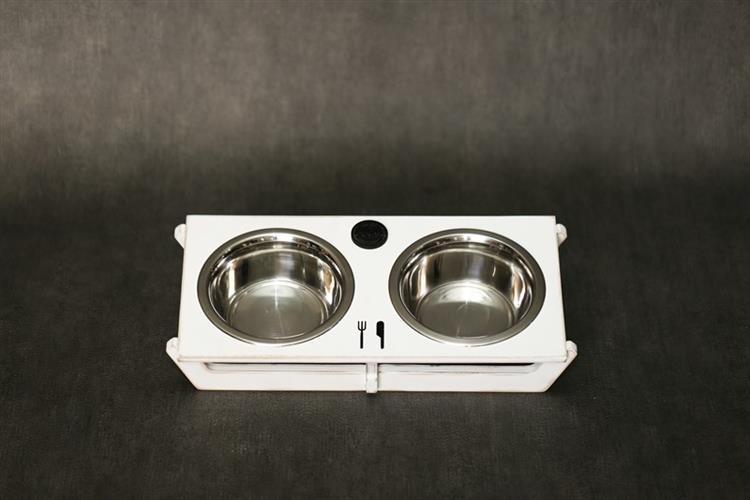 כלי אוכל ושתיה לכלב - שוטים M לבן ווש