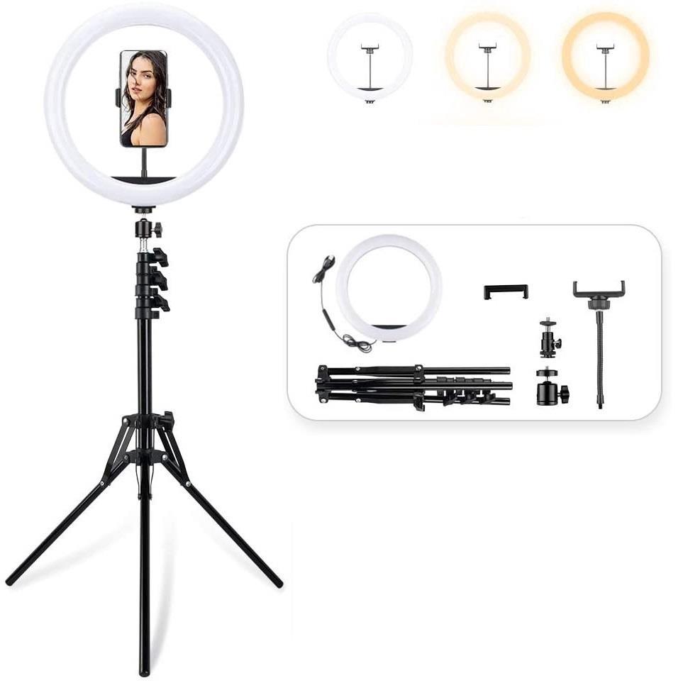 טבעת תאורה לד עוצמתית כולל חצובה ומעמד לטלפון| רינג לצילום עבור רשתות חברתיות בקוטר 32 סמ