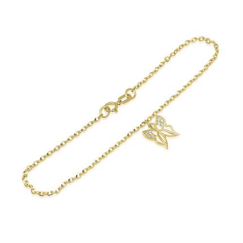 צמיד זהב עם צ'ארם פרפר זרקונים נופל