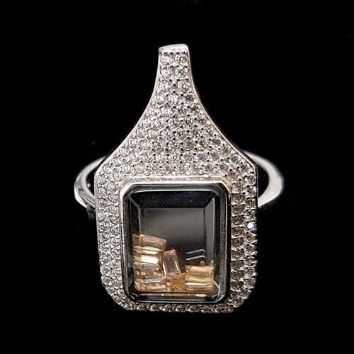 טבעת כסף משובצת אבני זרקון לבנות וזרקונים בצבע שמפנייה RG2450 | תכשיטי כסף 925