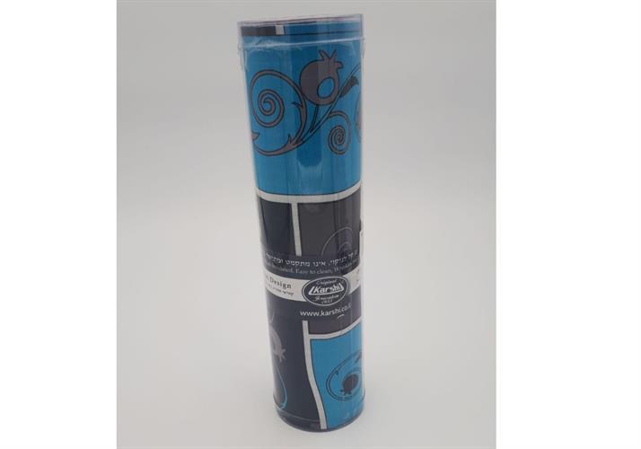 ראנר מעוצב לשולחן כחול עיטור רימון