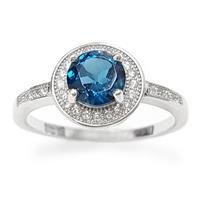 טבעת מכסף משובצת אבן טופז כחולה  וזרקונים RG1565 | תכשיטי כסף 925 | טבעות כסף