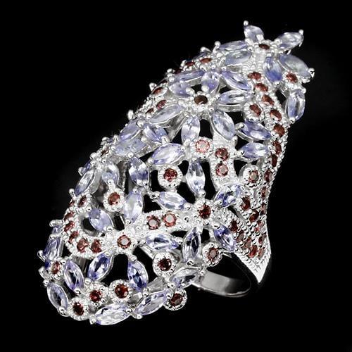 טבעת כסף משובצת אבני טנזנית וגרנט אדום RG5526 | תכשיטי כסף | טבעות כסף