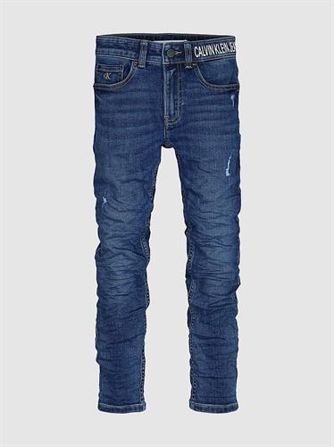 ג'ינס CK לוגו במותן כחול משופשף