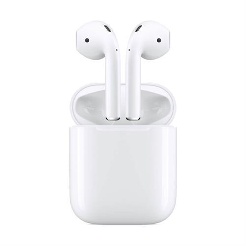 אוזניות אלחוטיות Apple New AirPods with Charging Case עם מיקרופון Bluetooth בצבע לבן