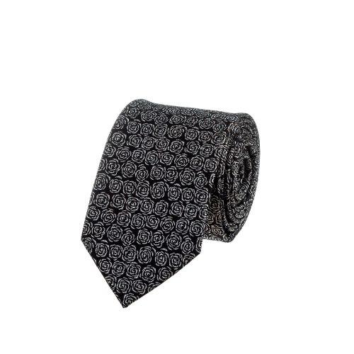 עניבה שחורה עם פרח לורקס כסוף
