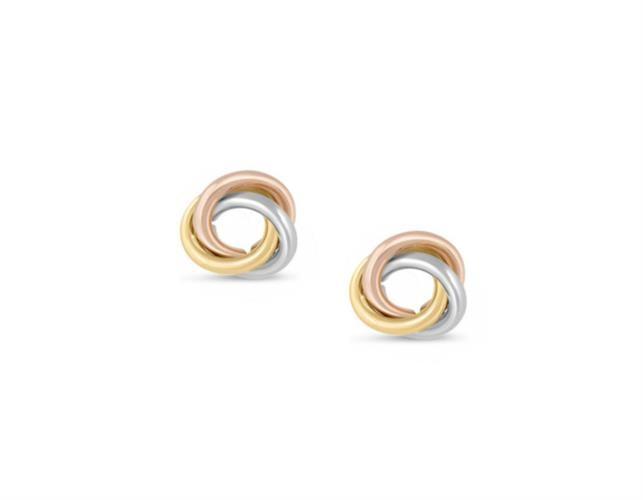 עגילי זהב צמודים לאוזן בשלושה צבעים 14 קרט