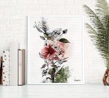 ציור של פרח אדום בצבעי מים