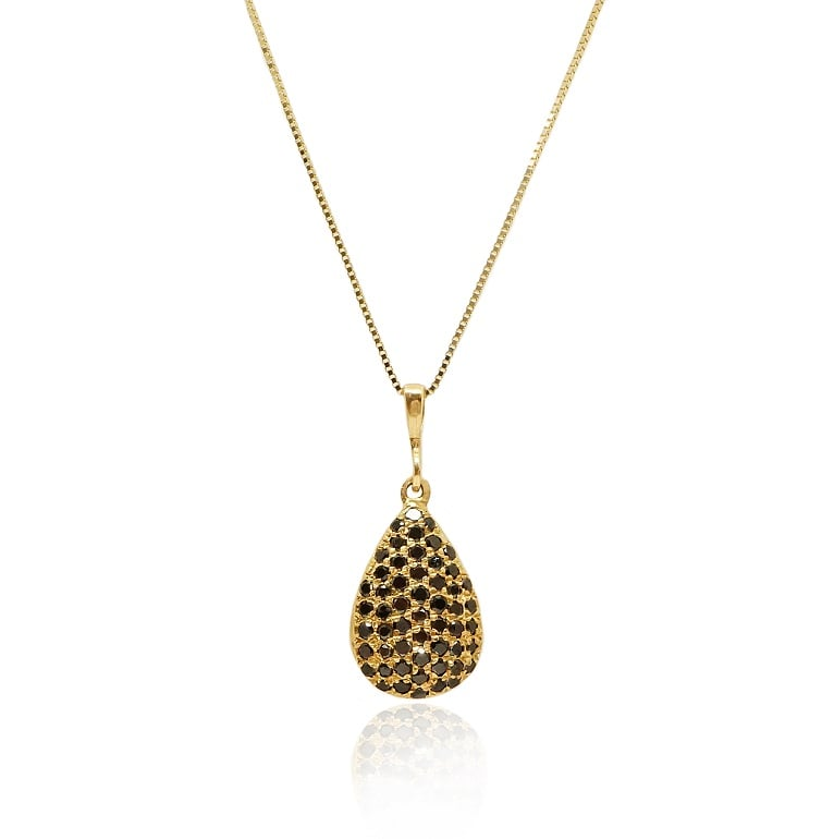 שרשרת יהלומים פאווה בצורת טיפה משובצת יהלומים שחורים 0.65 קראט זהב 14 קרט