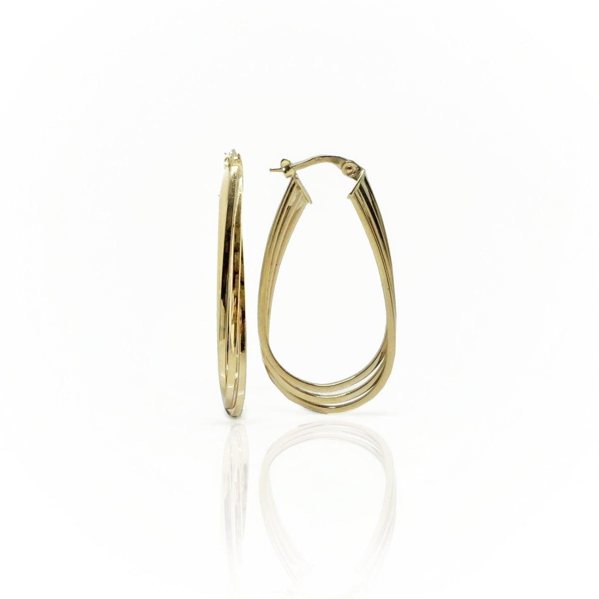 עגילי חישוק זהב צהוב אובלים 3 שורות מרשימים לאישה 14 קאראט
