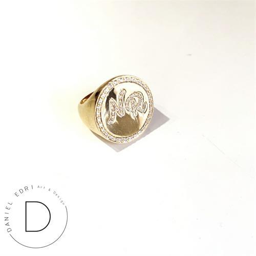 טבעת חותם- שיבוץ מסגרת ואותיות