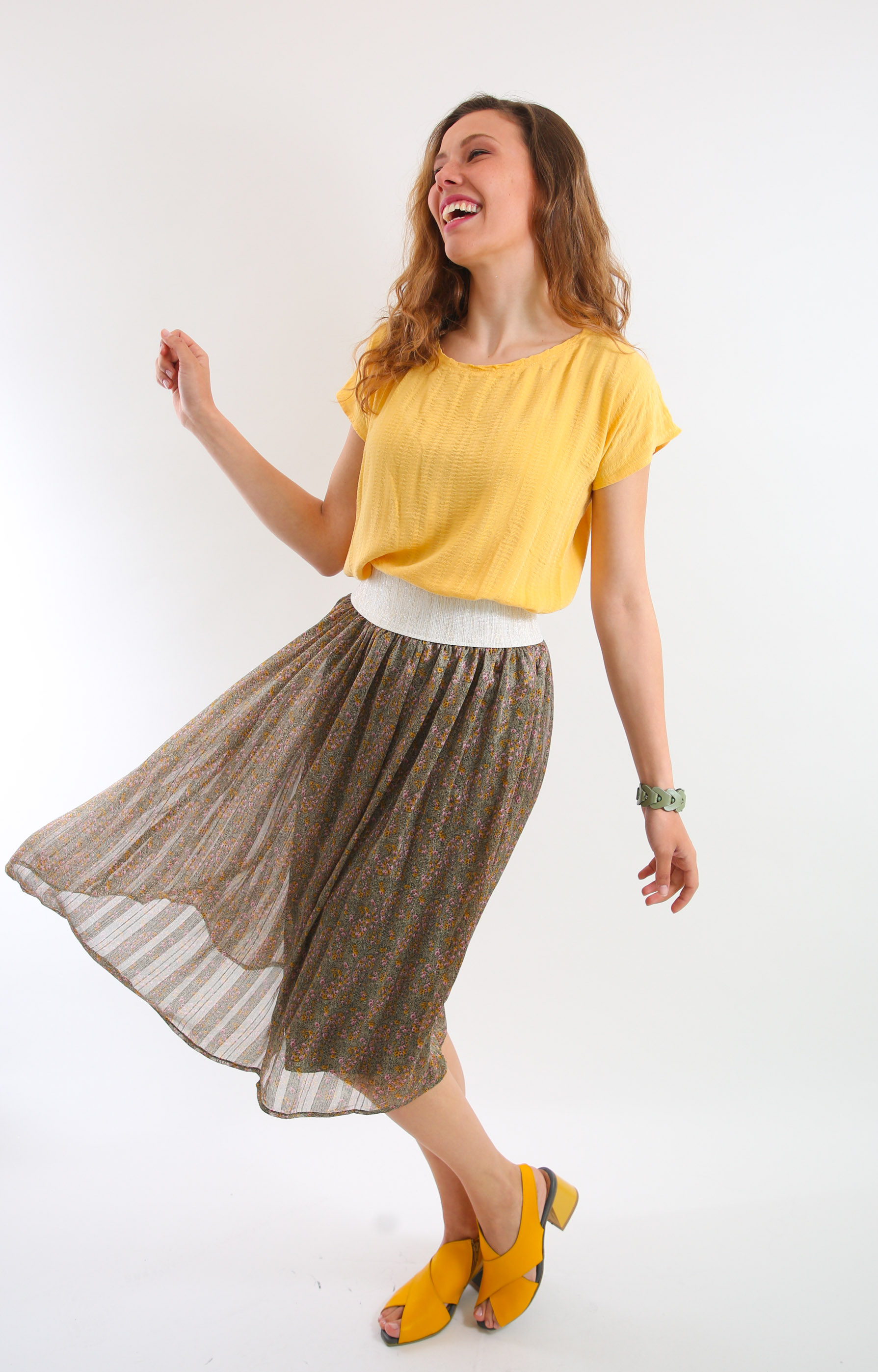 חצאית שיפון פרחונית ירוקה