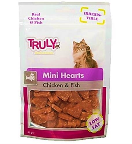 חטיף לחתולים לבבות עוף ודגים 50 גרם