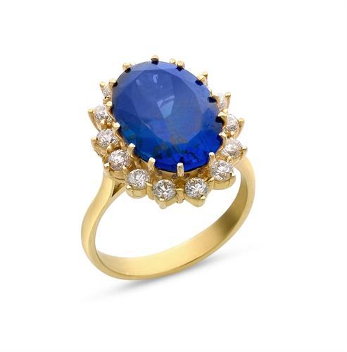 טבעת זהב 14K משובצת זרקונים ואבן ספיר