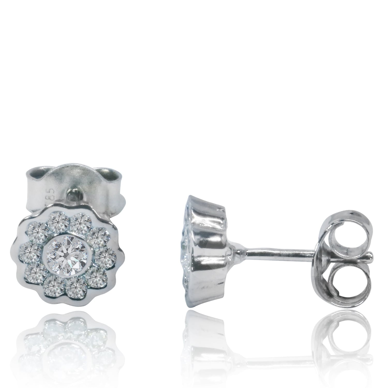עגילי יהלומים צמודים מודל פרח 0.50 קראט בזהב 14 קרט