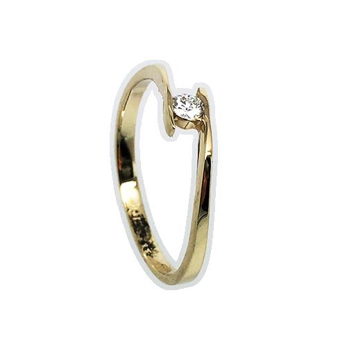 טבעת אירוסין זהב צהוב 14K יהלום מרכזי OP09160055008
