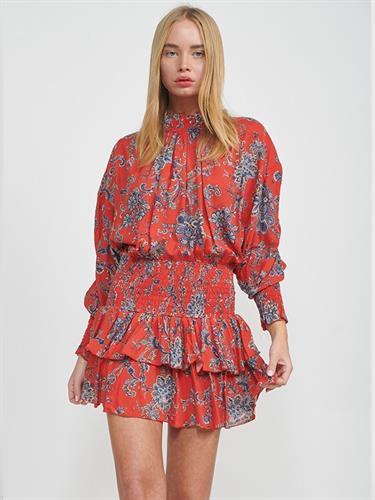 שמלת מקה אדום מודפס