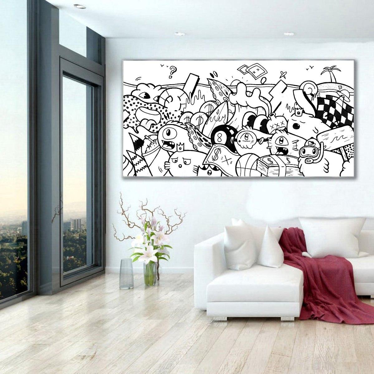 ציור פופ ארט שחור לבן לבית של האמן כפיר תג'ר