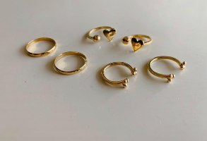 טבעת כדורים זרת זהב 14K