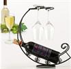 שחור - מעמד בקבוק יין מתכת עם כוסות