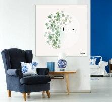 ציור של עלים ירוקים על קנבס