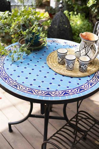 שולחן מוזאיקה טורקיז כחול