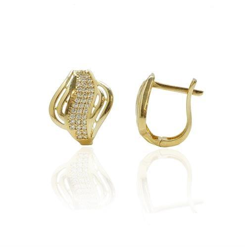 עגילי חצי חישוק זהב בסגנון גל עבים בינוניים וזרקונים