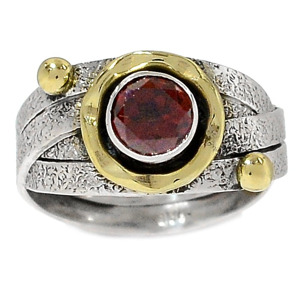 טבעת כסף מעוצבת משובצת אבן גארנט  RG5758 | תכשיטי כסף 925 | טבעות כסף