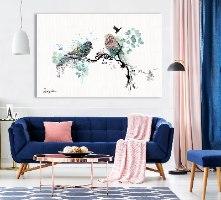 ציור מינימליסטי בחדר שינה