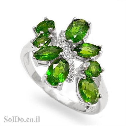 טבעת כסף משובצת אבני כרום דיופסיד וזרקונים RG6002 | תכשיטי כסף 925 | טבעות כסף
