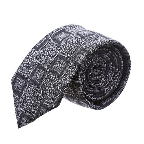 עניבה פרחים מעויינים אפור שחור
