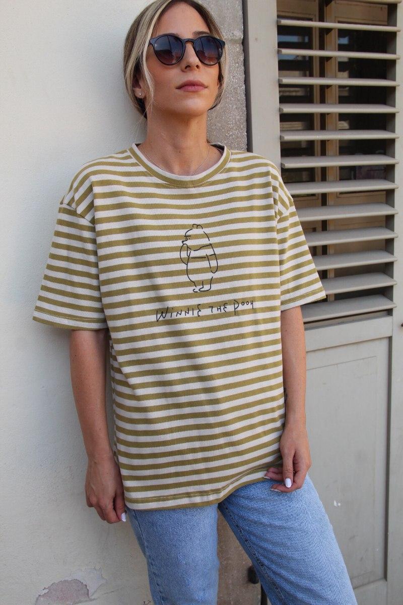 חולצת פו פסים ירוק
