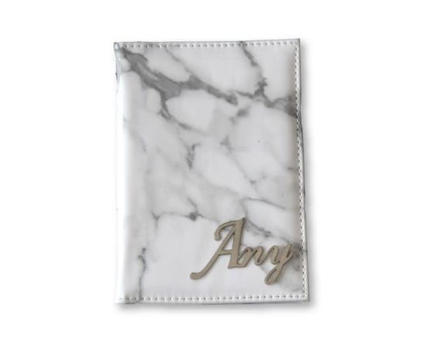 כיסוי לדרכון דמוי עור אבן לבן