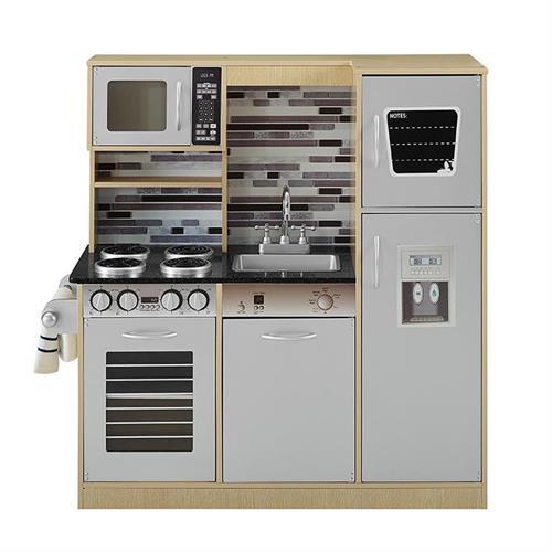 מטבח עץ לילדים אפור ועץ דגם גבריאל W10C458B