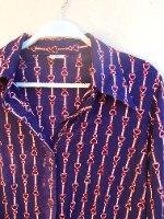 חולצת סבנטיז כחולה מכופתרת S/M