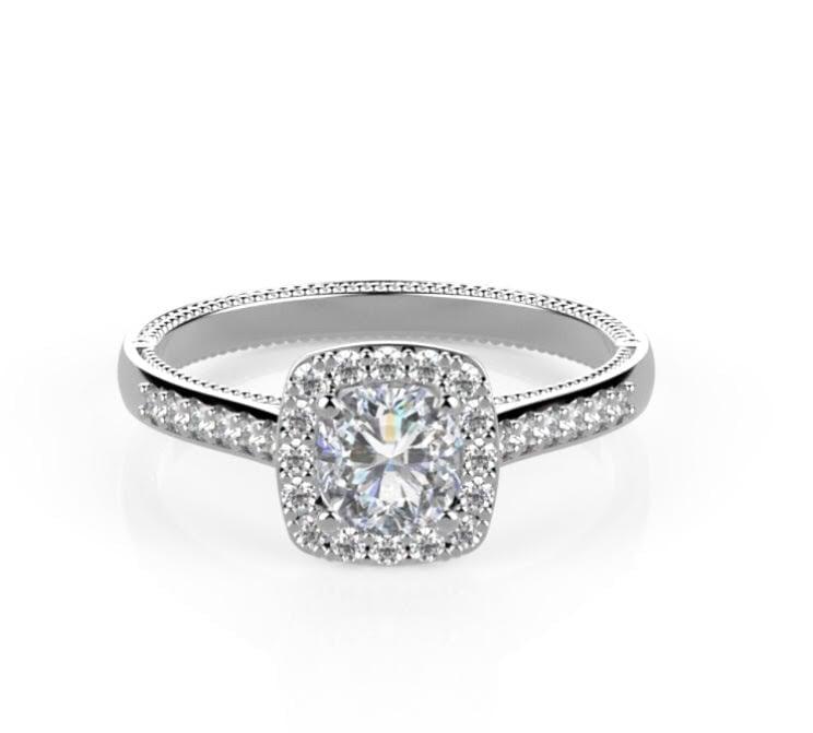 טבעת יהלומים מרובעת 1 קראט   טבעת אירוסין מעוצבת מרובעת משובצת יהלומים בזהב לבן