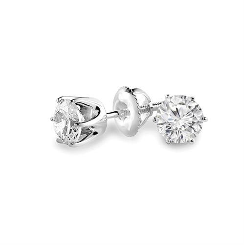 עגילי יהלומים 0.62 קראט | עגילי יהלומים צמודים | עגילי סוליטר 0.62 קראט