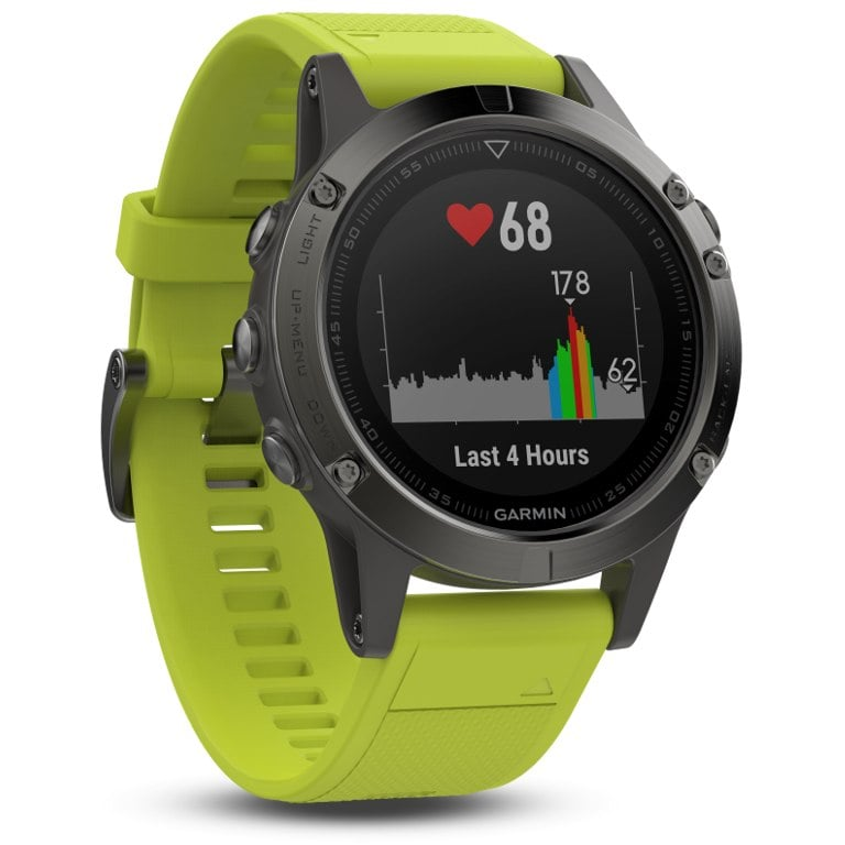 Garmin Fenix 5 Slate grey with amp yellow band שעון דופק