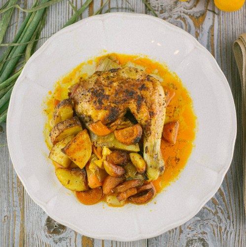 עוף סונייה עם ירקות