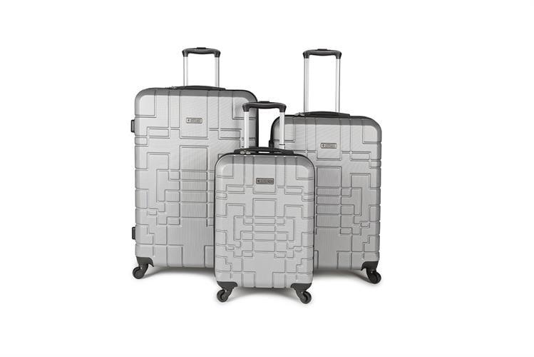 כולל משלוח מהיר לבית!!! סט מזוודות איכותי AMERICAN EXPLORER- צבע כסוף