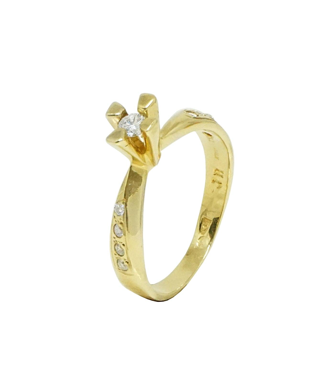 טבעת אירוסין מיוחדת 0.25 קראט זהב 14 קרט