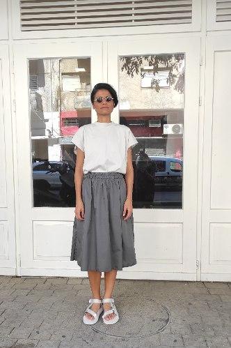 חצאית מניילון יפני - אפור